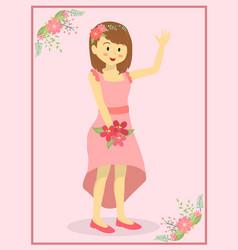 Casual pink wedding bride vector
