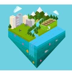 city landscape and water layer cross cut section vector image vector image