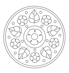 Coloring simple flowers mandala vector