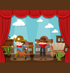 Cowboy town on stage with two kids acting vector