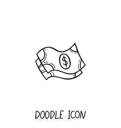doodle banknotes icon vector image
