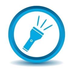 Flashlight icon blue 3d vector