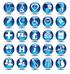Glossy medical icons vector