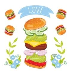 Hamburger ingredients on white background vector image vector image