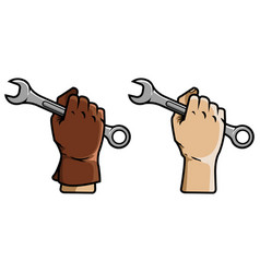 hand holding wrench vector image vector image