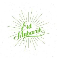 Handwritten eid mubarak retro label vector