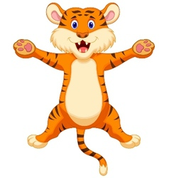 Happy tiger cartoon vector image
