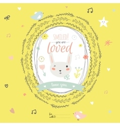 Lovely card with greeting wish and cute bunny in a vector
