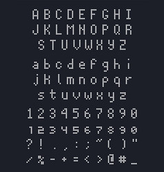 Pixel square font letters numbers and punctuation vector