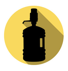 Plastic bottle silhouette with water and siphon vector