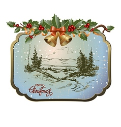 postcard with Christmas landscape vector image