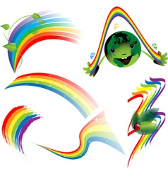 Rainbow set of decorative elements vector