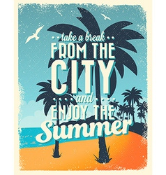 Retro Vintage Summer Poster Design with Typography vector image vector image