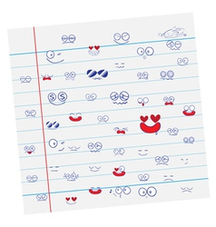 Set of Emotions cartoon on paper vector image vector image
