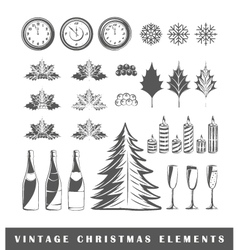 Set of silhouettes of a Christmas vector image