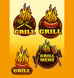 Signs of grill and barbecue vector