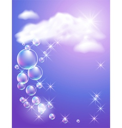 Sky clouds bubbles and sunshine vector image