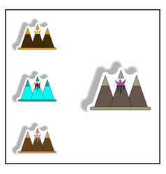 Sticker collection of volcano vector
