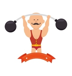 Strong man circus with weight lifting vector