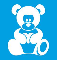 Teddy bear holding a heart icon white vector