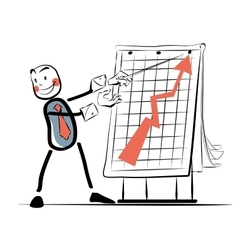 The businessman beside chart sales color vector