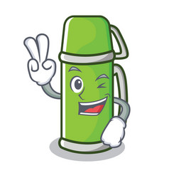 two finger thermos character cartoon style vector image