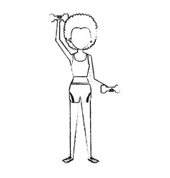 Woman weight lifting with sport wear vector