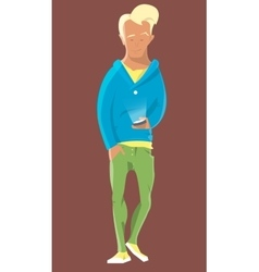 Young man walking with handie or mobile phone vector