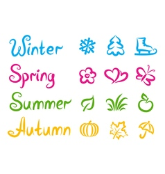 Handwritten names and symbols of four seasons vector image