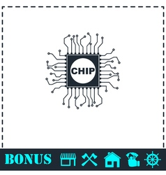 Chip icon flat vector