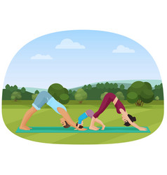 Parents with kid does yoga various exercises vector
