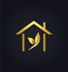 House gold leaf logo vector