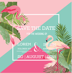 Tropical flowers and flamingo summer wedding card vector