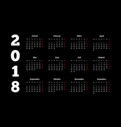 2018 year simple white calendar on german language vector