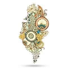 Henna Paisley Mehndi Abstract Element vector image