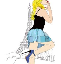 A big kiss from Paris vector image