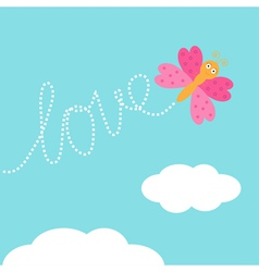 Flying butterfly insect dash word love in the sky vector
