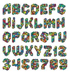 color cube alphabet vector image