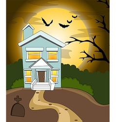Halloween house background vector