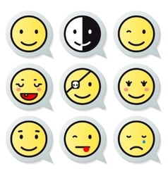 Happy face speech bubble vector