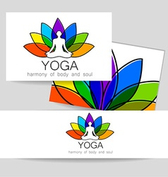 Lotos yoga logo vector