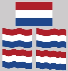 Flat and waving flag of netherlands vector