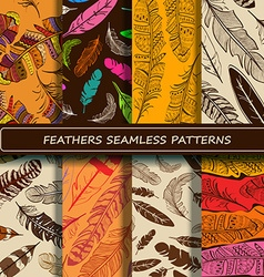 Set of yellow brown abstract ethnic bird feather vector