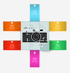 Puzzle with an old camera with elements vector