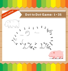 Cartoon pig dot to dot educational game for kids vector