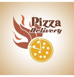 Pizza with flame icon fast food design vector