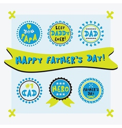 Happy fathers day cute emblems set vector