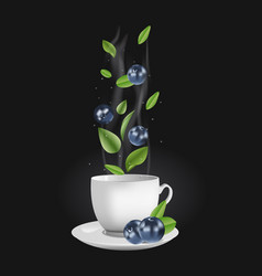 blueberry tea vector image vector image