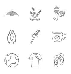 Brazilia icon set outline style vector