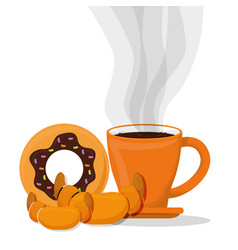 Coffee cup bread dessert croissant donut vector